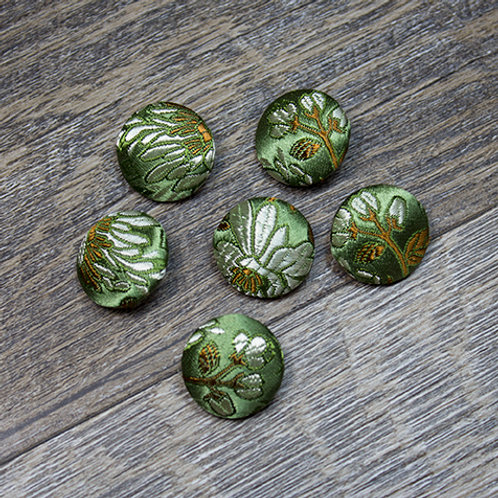 Green Floral Brocade Covered buttons L30