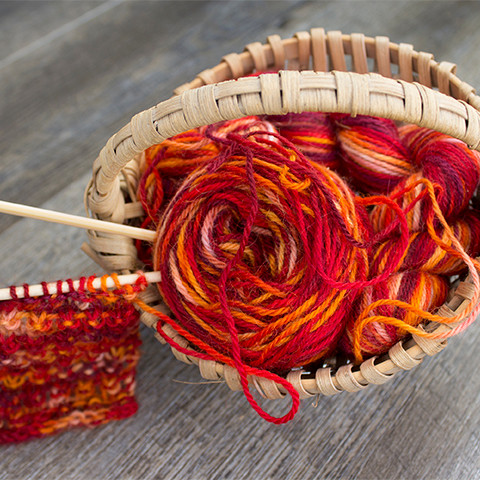 Hand-painted Yarn in a Basket