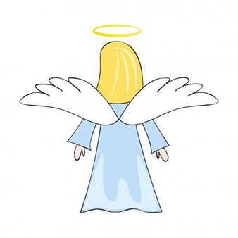 A drawing of a lady blue angel.