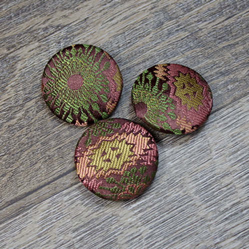 Brown & Gold Abstract Brocade Covered Buttons L45