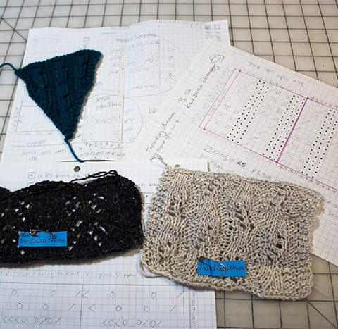 Knitting swatches and charts.