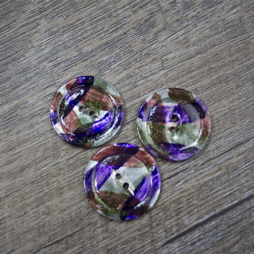Hand-Painted Autumn Shell Buttons L45