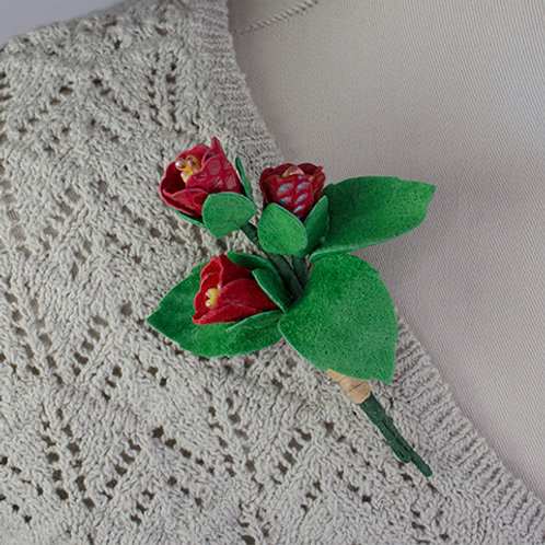 Red Bud Bouquet Pin