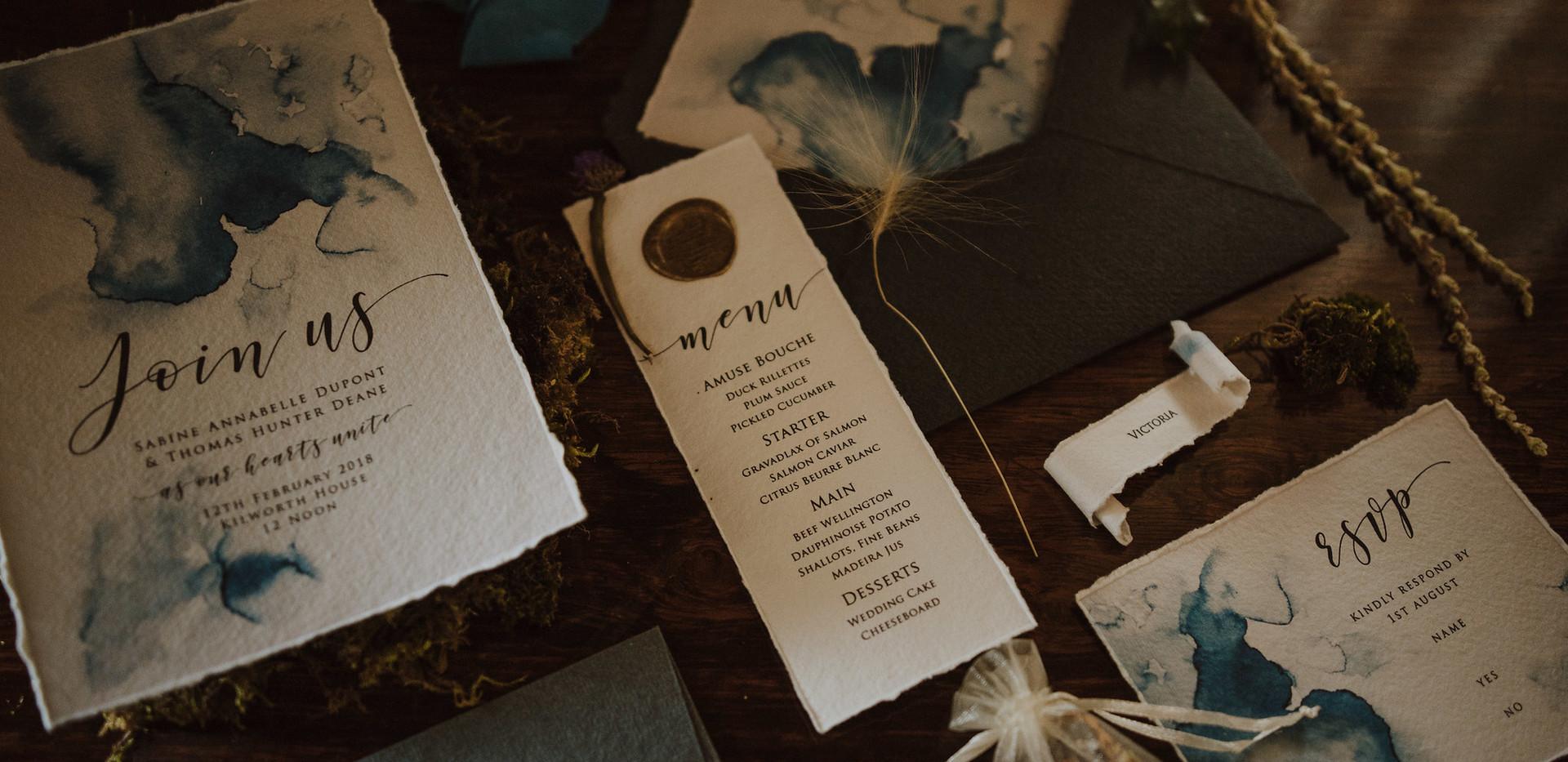 calligraphy wedding stationery
