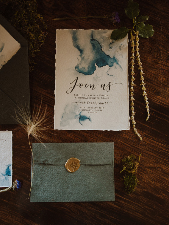 gold and blue wedding invite