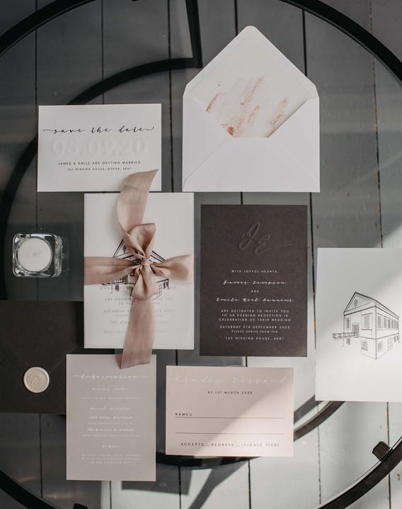 blush wedding stationery