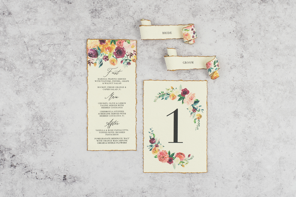 place setting paper scroll