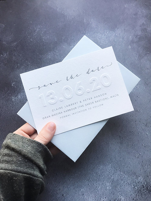 Stapleford Embossed Save the Date Sample