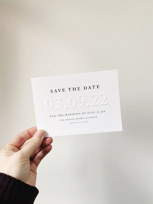 Serif Embossed Save the Date - Sample