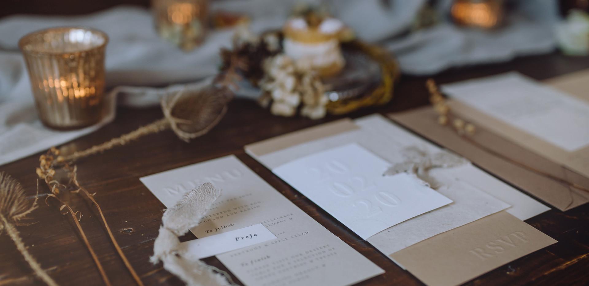 embossed wedding invite