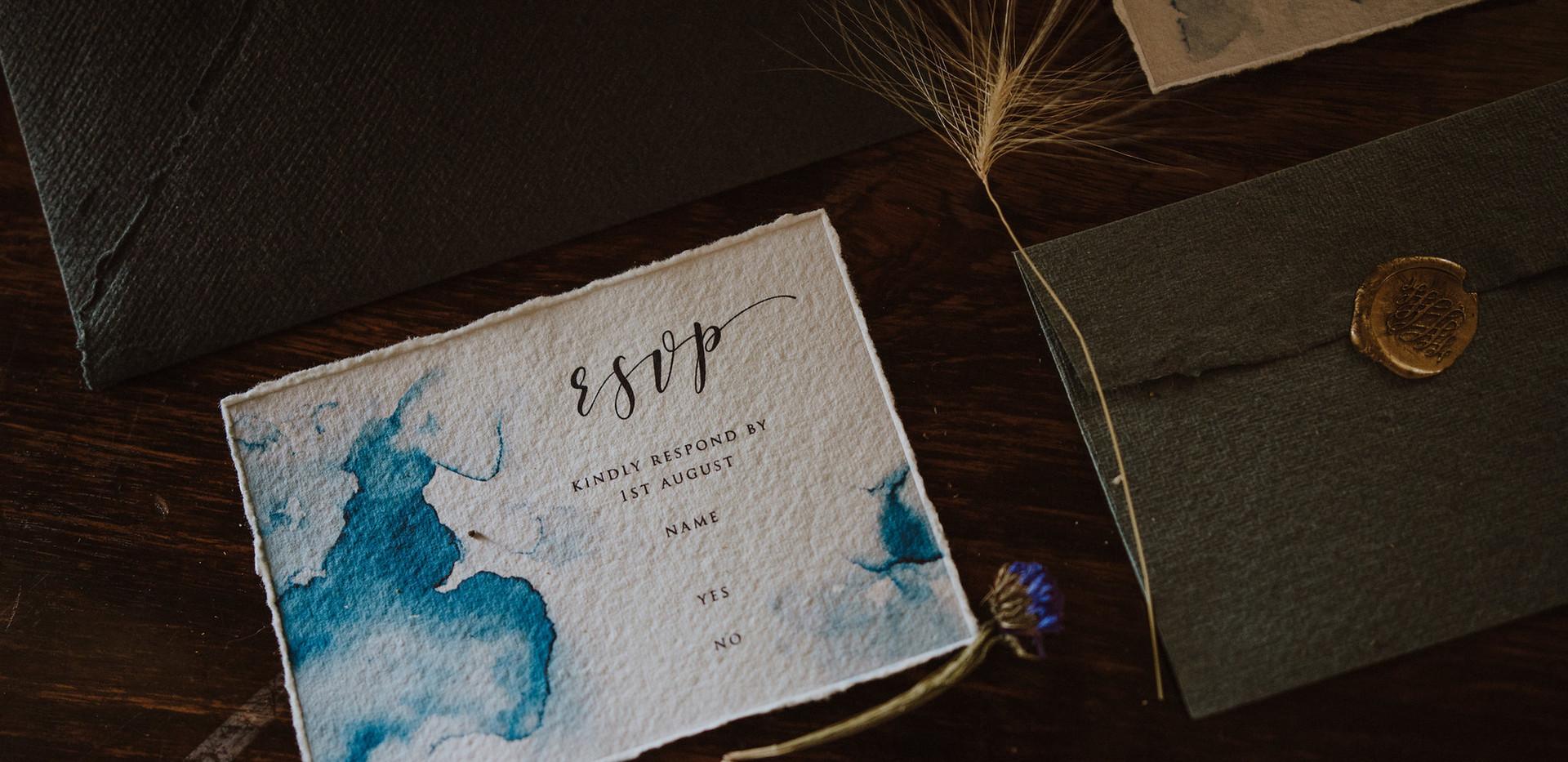 blue and gold wedding invitation