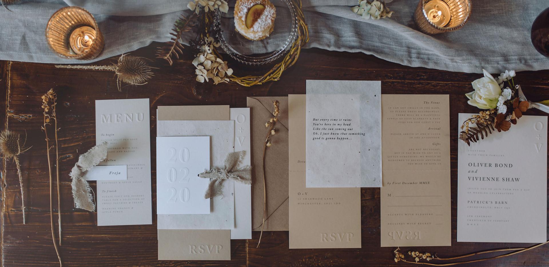 scandi wedding stationery