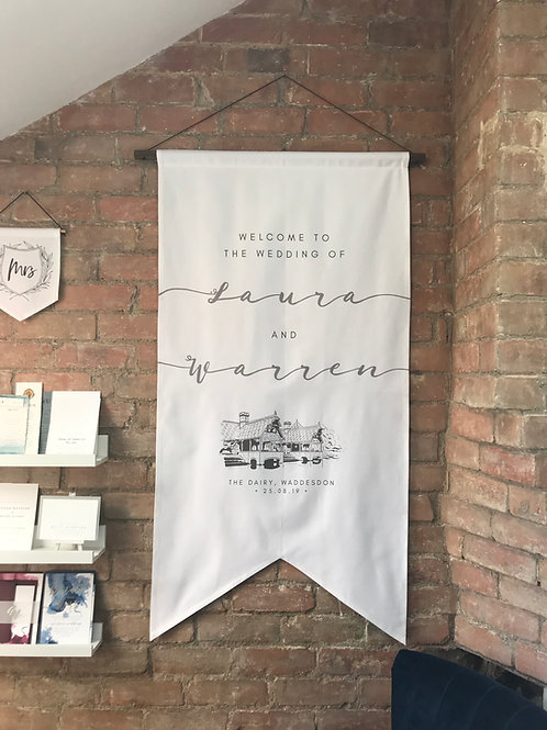 Welcome Banner Flag with Venue Illustration