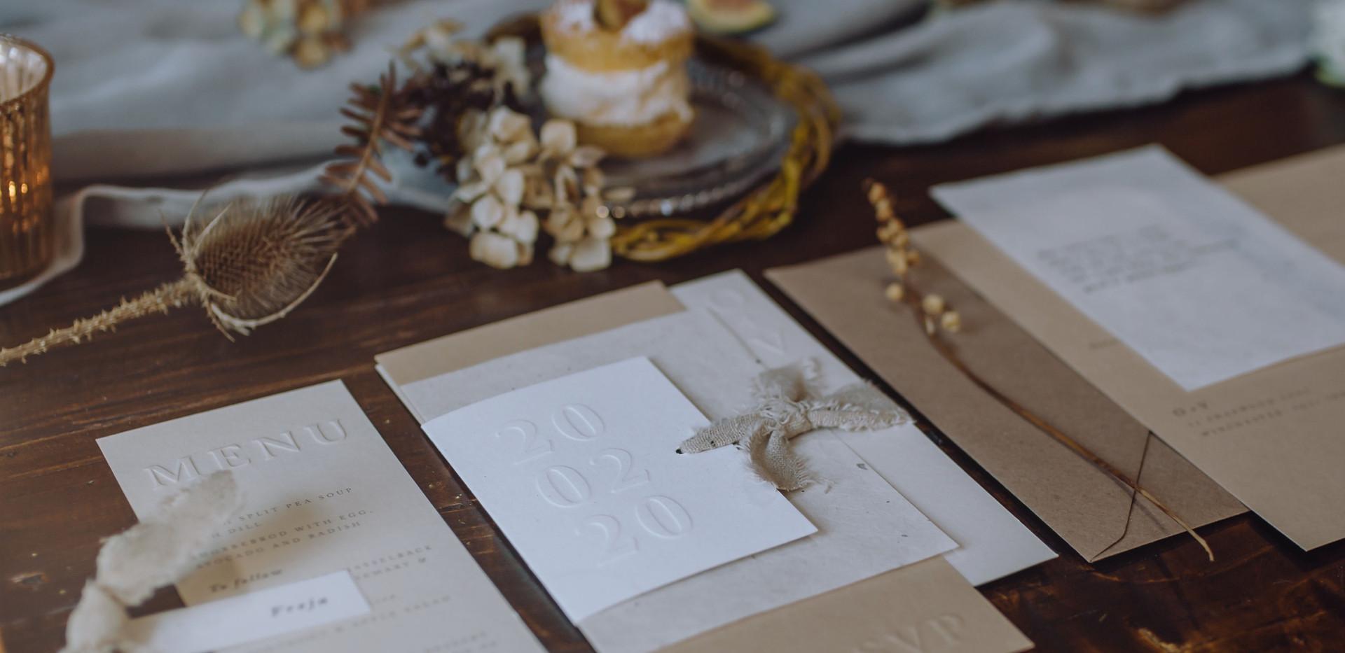 embossed wedding stationery
