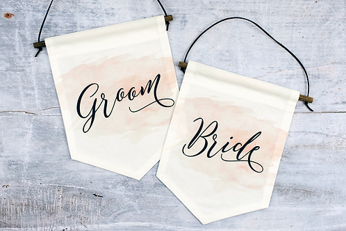 Bride & Groom Chair Flag Pair | No. 7 Collection