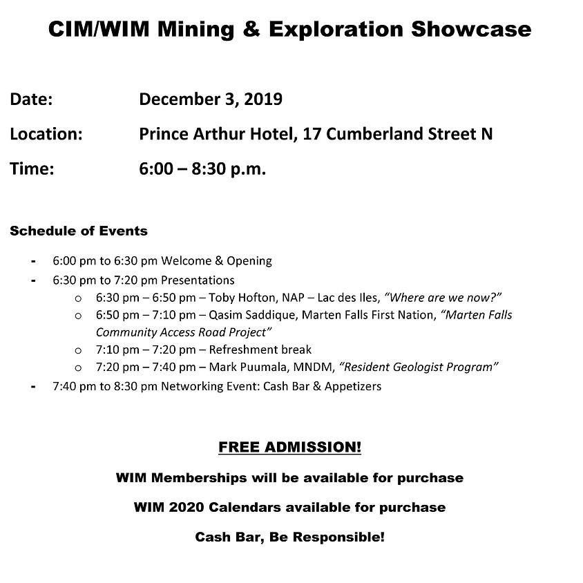 CIM-WIM Mining & Exploration Showcase
