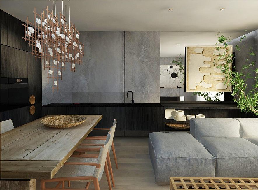 Projekt nowoczesnego wnętrza z elementami marmurowymi, metalowymi oraz szklanymi. Widok na salon z kanapą. Realizacja: biuro projektowania wnętrz Vibo Studio Łódź.