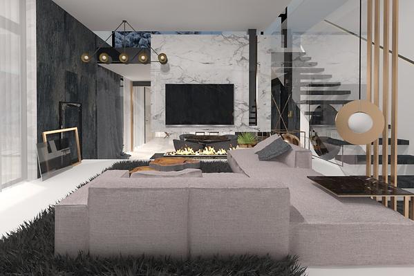 Projekt nowoczesnego wnętrza z elementami marmurowymi, metalowymi oraz szklanymi. Widok na salon z kanapą, schodami i kominkiem. Realizacja: biuro projektowania wnętrz Vibo Studio Łódź.