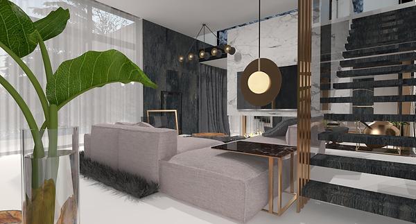 Projekt nowoczesnego wnętrza z elementami marmurowymi, metalowymi oraz szklanymi. Widok na salon z kanapą i schodami. Realizacja: biuro projektowania wnętrz Vibo Studio Łódź.