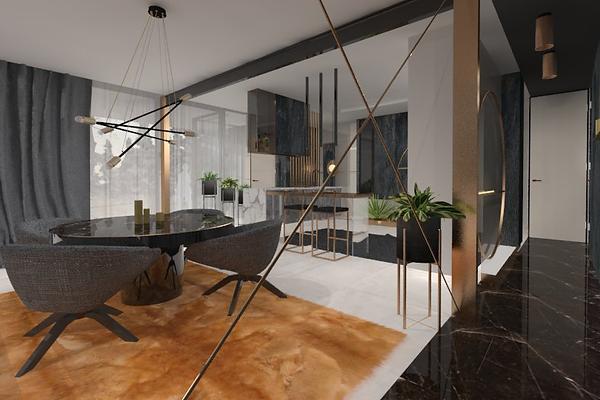 Projekt nowoczesnego wnętrza z elementami marmurowymi, metalowymi oraz szklanymi. Widok na część jadalną ze stołem, fotelami, barkiem i hokerami. Realizacja: biuro projektowania wnętrz Vibo Studio Łódź.