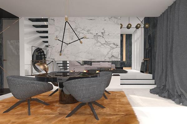 Projekt nowoczesnego wnętrza z elementami marmurowymi, metalowymi oraz szklanymi. Widok na część jadalną ze stołem, fotelami i kominkiem. Realizacja: biuro projektowania wnętrz Vibo Studio Łódź.