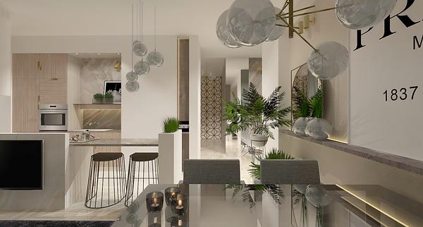 Projekt nowoczesnego mieszkania z elementami marmurowymi, drewnianymi oraz szklanymi. Widok na kuchnię i jadalnię ze stołem i hokeram. Realizacja: biuro projektowania wnętrz Vibo Studio Łódź.