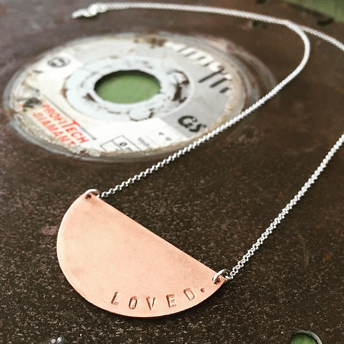 Silver Necklace Halfmoon Copper