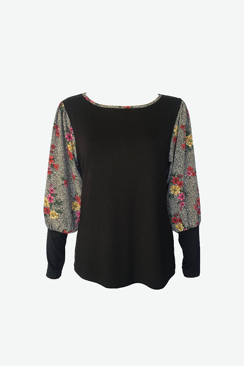 Multi Floral Banded Puff Sleeve