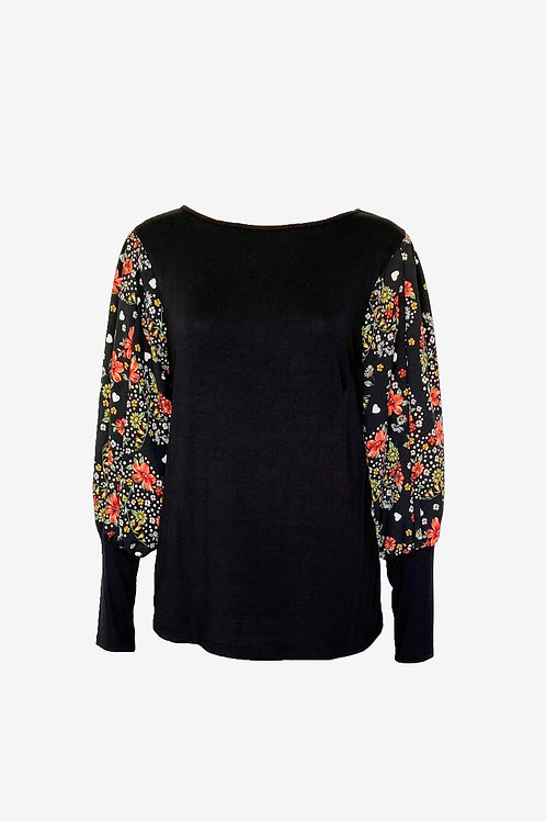 Floral Heart Banded Puff Sleeve