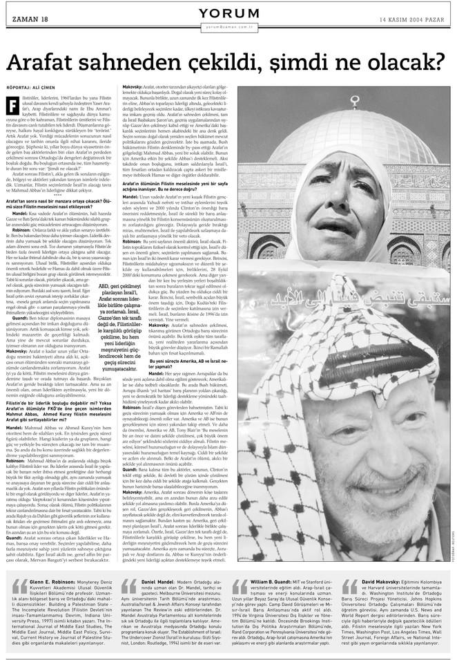 """Yorum röportaj: """"Arafat sahneden çekildi, şimdi ne olacak?"""""""