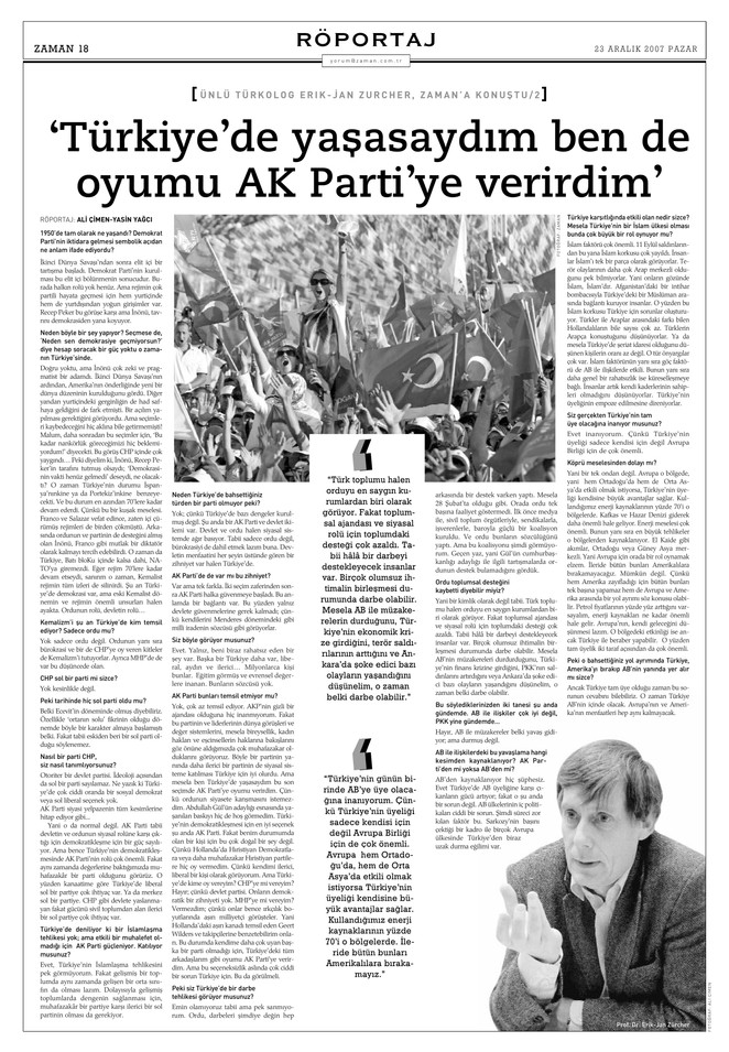 """Röportaj - Erich Jan Zürcher: """"Türkiye'de yaşasaydım ben de AK Parti'ye oy verirdim."""""""