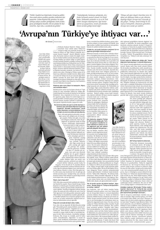 """Röportaj - Geert Mak: """"Avrupa'nın Türkiye'ye ihtiyacı var."""""""