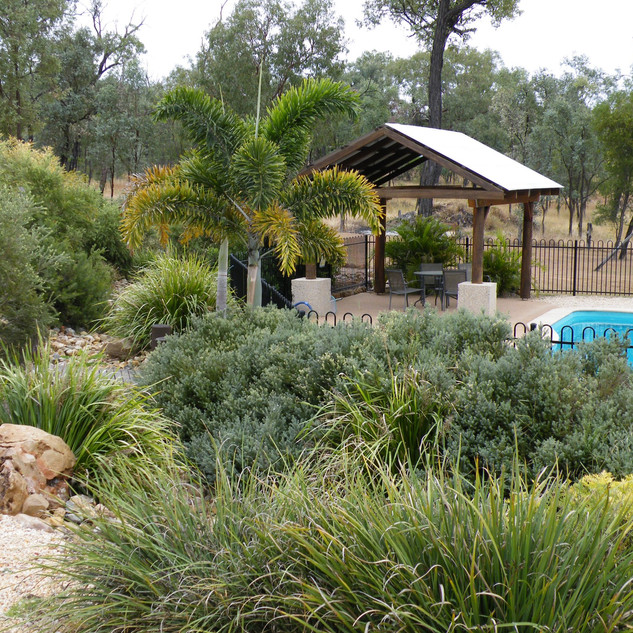 Gardens around pool