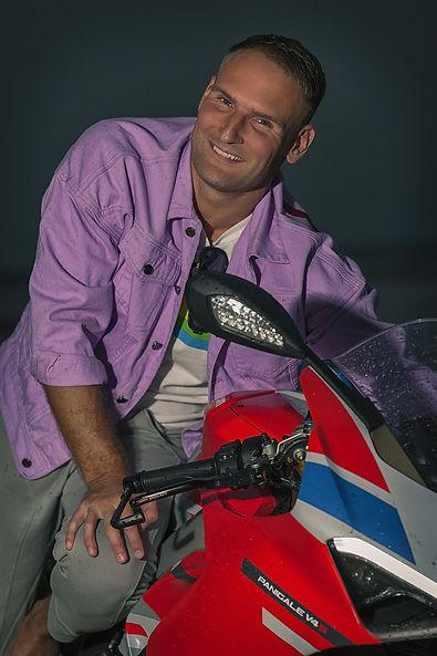 Portrait of motorbike sportsman