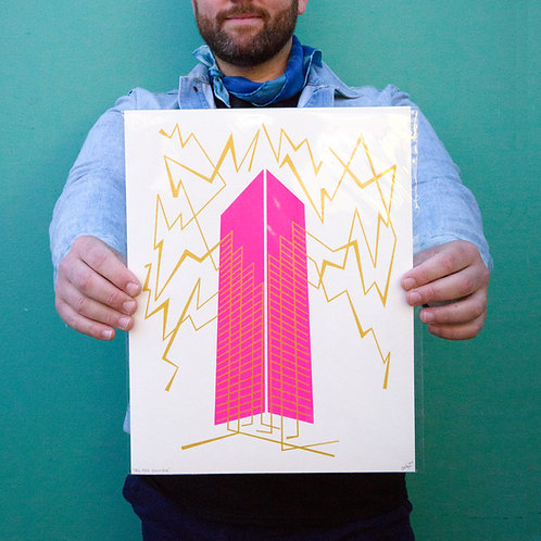 """Big Pink Electrifies"" 11x14 Screenprint by Jonathan Hanisits"