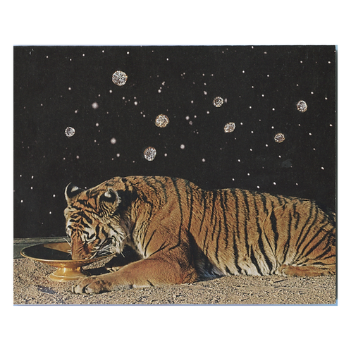 """Easy, Tiger"" Handmade Original Collage by Lara Rouse"