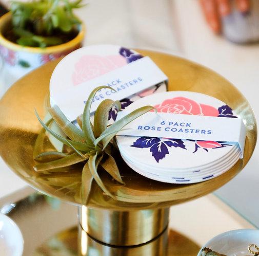 Letterpress Rose Coaster Set  by Letra Chueca Press