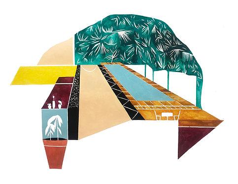 """Poolside Convo"" Print by Emily Kepulis"