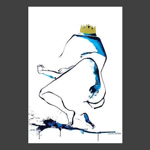 """""""Get Back Up Queen"""" Gold Foil Print by Ursula Barton"""