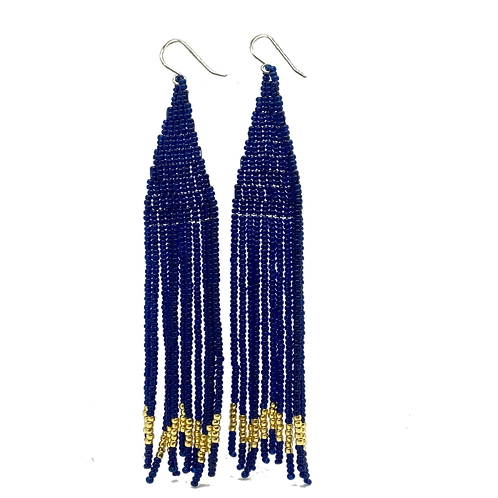Navy & Gold Fringe Seed Bead Earrings by Neighbor Jewelry