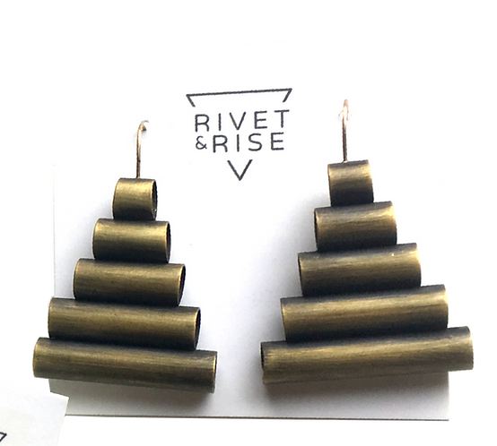 Brass Tube Pyramid Earrings by Rivet & Rise
