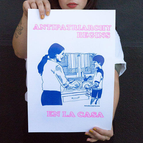 Anti Begins Poster by Letra Chueca Press