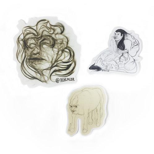 Showerfriends Series Stickers by Rachel Mulder