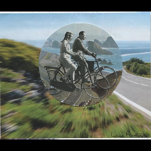Oregon Bike Riders Handmade Original Collage by Lara Rouse