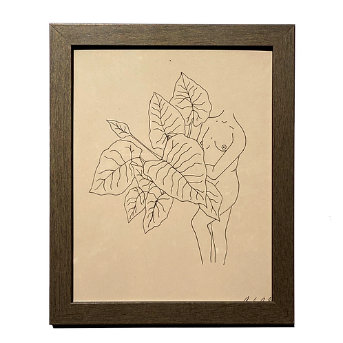 Hand-drawn Leaf Me Be by Alrescha Co. in Brown Frame