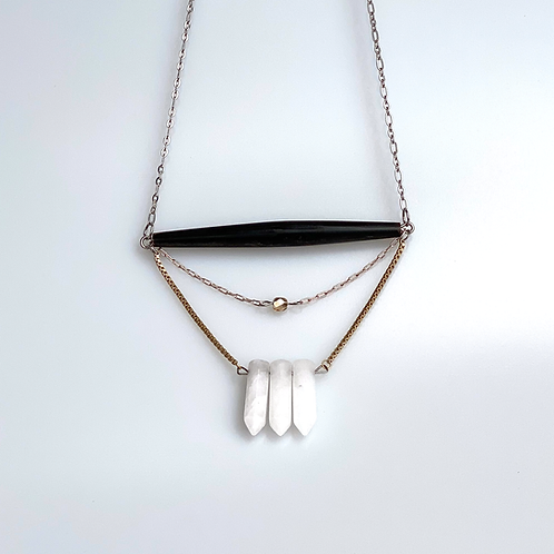 Bone and Quartz Mixed Metal Long Necklace by MAKEMAKE
