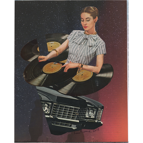 """She's a DJ"" Handmade Original Collage by Lara Rouse"