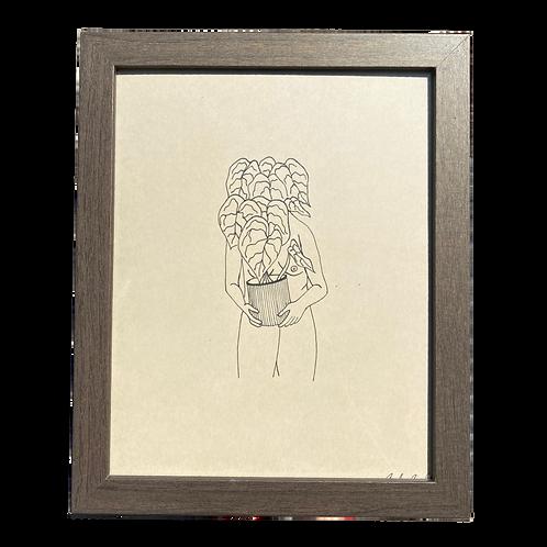 Hand-drawn Monstera Face Original Line Art by Alrescha Co. in Brown Frame