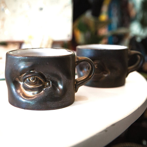 Eye See You Mug in Brown Iridescent by The Wright Clay