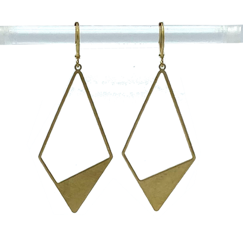 Large Brass Diamond with Cutout Earrings by Travelust